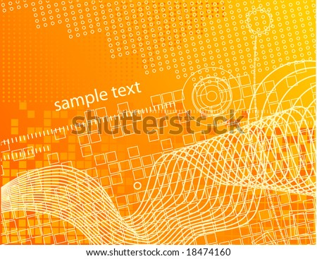 stock vector : Abstract design, orange hi-tech wallpaper background.