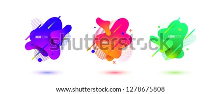 Abstract design set of liquid shapes. Fluid vector design. Gradient flyer, banners with flowing liquid shapes. Modern presentation template. #1278675808