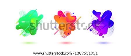 Abstract design set of liquid shapes. Fluid vector design. Gradient flyer, banners with flowing liquid shapes. Modern presentation template. #1309531951