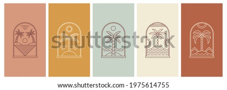 Abstract design summer logo template with palm trees. Modern minimal linear badge and emblem set for social media, vacations rentals and travel services.
