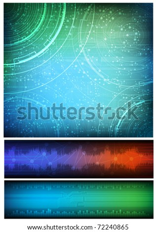 Abstract design, technology theme vector background and two horizontal banners. Eps10