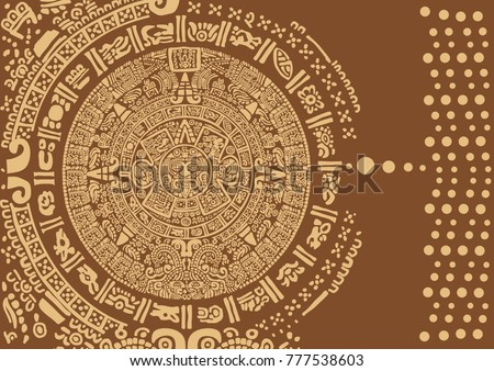 Abstract design with an ancient Mayan ornament. Images of characters of ancient American Indians.The Aztecs, Mayans, Incas.