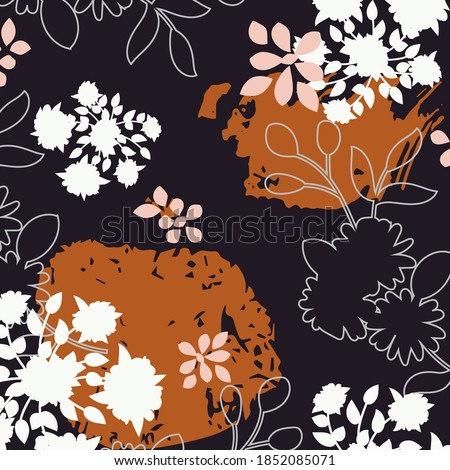 Abstract design with brush strokes and floral designs for silk shawl, hijab, headscarf and other textiles. Photo stock ©