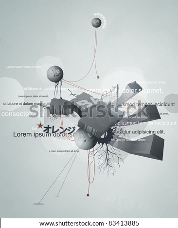 abstract design with wires, debris, and text