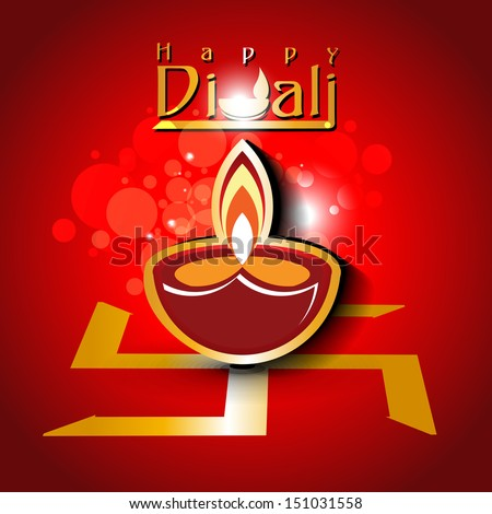 Abstract dewali design with shiny vector diya on beautiful color background.