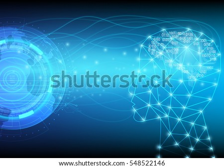 Abstract digital and technology background. Artificial Intelligence with futuristic of world communication.