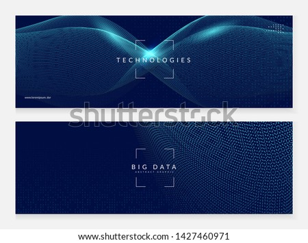 Abstract digital background. Artificial intelligence, deep learning and big data concept. Quantum technology. Tech visual for computing template. Partical abstract digital background.