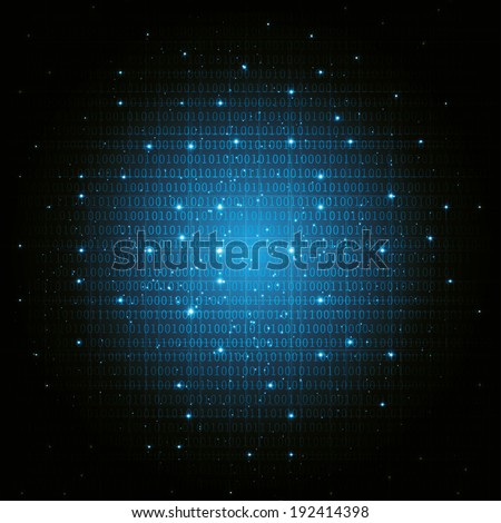 abstract digital binary background blue. vector eps10