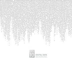 Abstract digital data technology square gray pattern pixel background. Vertical style. Vector graphic illustration