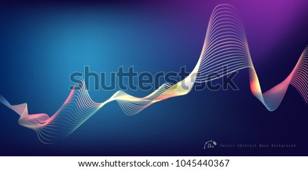 Abstract digital equalizer, sound wave pattern element. Vector illustration for tech futuristic innovation concept background.