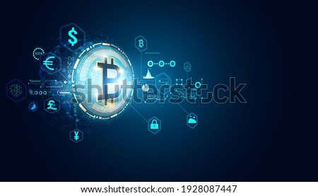 Abstract digital finance in the online world. Bitcoin. Various transactions. Nationwide currency Investing in bitcoins Online transactions Online transactions On the background.