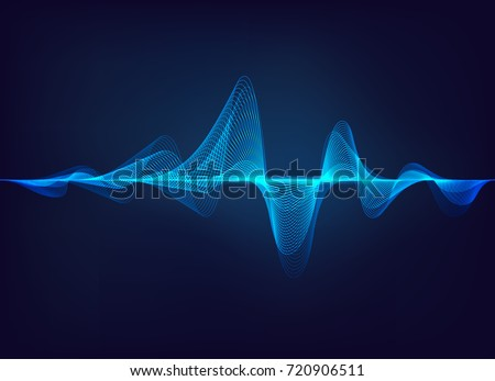 abstract digital green blue equalizer, sound wave pattern element