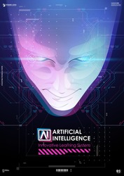 Abstract digital human face. Robotics concept. Big data and artificial intelligence concept. Human head in robot digital computer interpretation.
