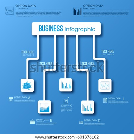 Abstract digital infographic concept with flowchart and business icons on blue background vector illustration #601376102
