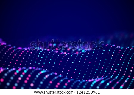 Abstract digital landscape or soundwaves with flowing particles. Big data technology background. Visualization of sound waves. Virtual reality concept: 3D digital surface. EPS 10 vector illustration.