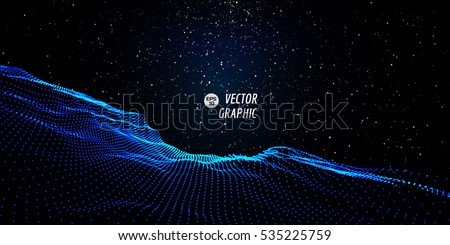 Abstract digital landscape with flowing particles and stars on horizon. Cyber or technology background.Vector illustration.
