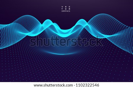 Stock Photo Abstract digital landscape with flowing particles. Cyber or technology background.Vector illustration.