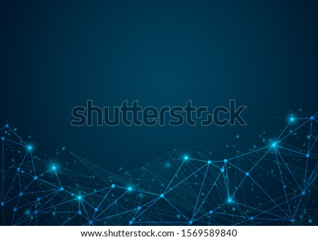 Abstract digital on blue background. Wire frame 3D mesh network line, design sphere, dot and structure. Vector illustration eps 10.
