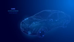 Abstract digital polygonal isolated car on dark blue background. Technology innovation engineering. Cars rental and cars sale concept. Low poly wireframe banner template. Polygons and connected dots.