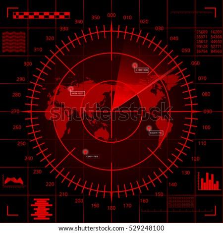 abstract digital red radar