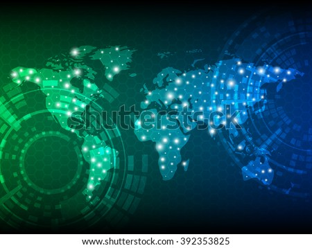 Tech world map vector download free vector art stock graphics abstract digital technology background with world map vector template design gumiabroncs Images