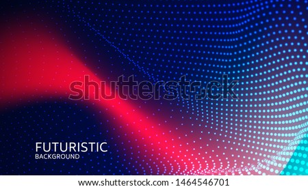 Abstract digital wave particle on blue background. Big data visualization concept. Vector Illsutration.