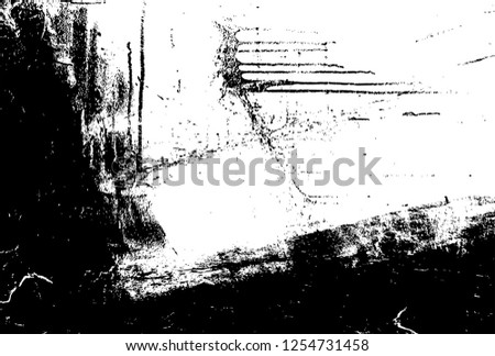 Abstract Dirty Creative Design Backdrop Element. Black And White Distressed Grunge Vector Overlay Template. Dark Paint Weathered Texture.  #1254731458