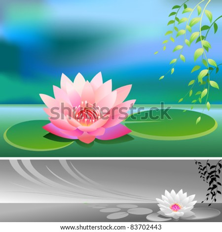 Abstract- Divine Lotus Flower - Vector Background