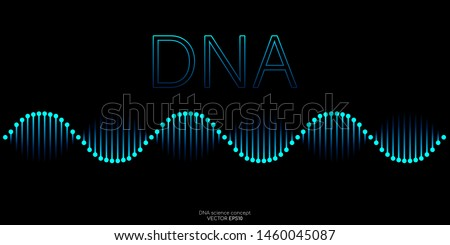 Abstract DNA molecule helix spiral wave blue green isolated on black background. Vector illustration in concept medical science, genetic biotechnology, chemistry biology, gene.