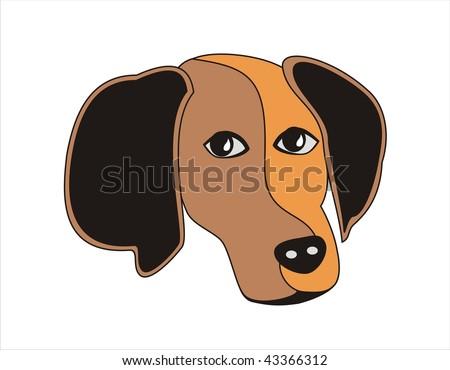 cartoon dog face. Abstract dog face divided
