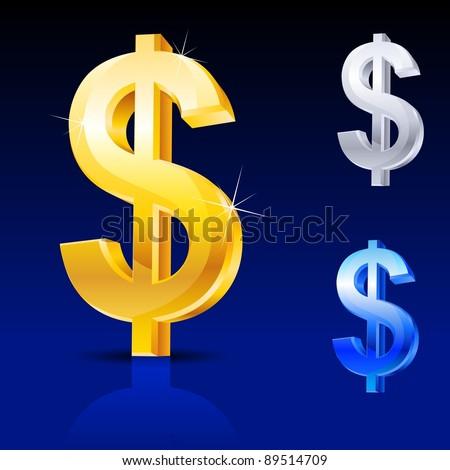 Abstract dollar sign. Illustration on blue background for design