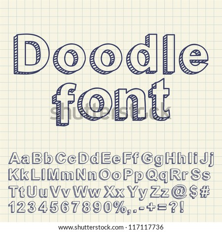 Abstract doodle font. Vector illustration.