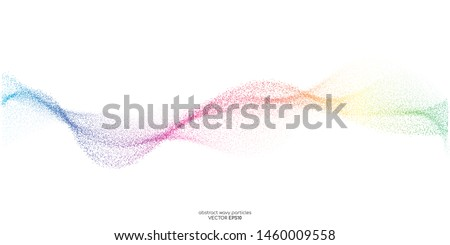 Abstract dots particles flowing wavy colorful isolated on white background. Vector illustration design elements in concept of technology, energy, science, music.