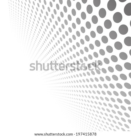 Abstract dotted black and white background in perspective view