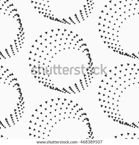 Abstract dotted circles seamless texture. Monochromatic vector pattern