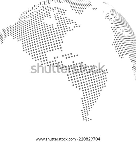 abstract dotted globe  map of