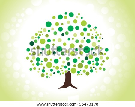 abstract dotted green tree vector illustration