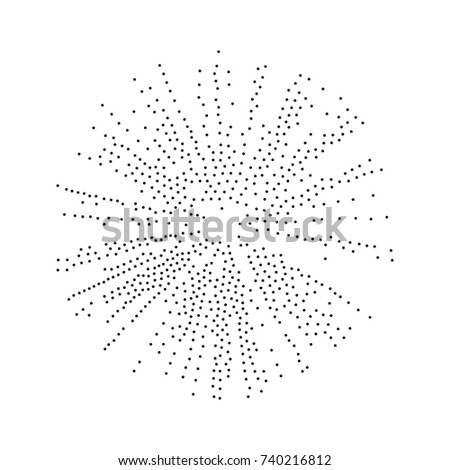 Abstract dotted round shape. Halftone effect surface. Black dots on white background. Black and white sunburst