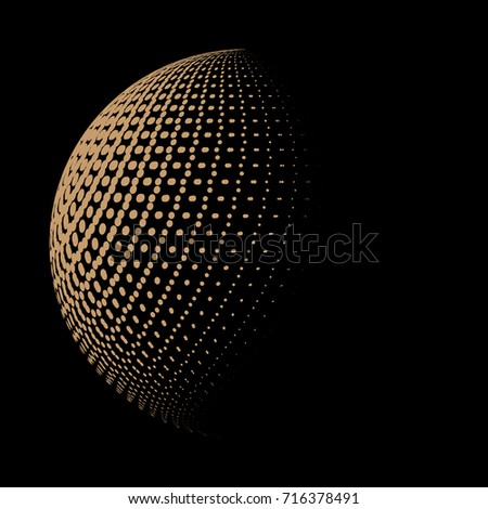 Abstract dotted sphere,ball, globe,  3d halftone effect pattern, vector illustration, left side light #716378491
