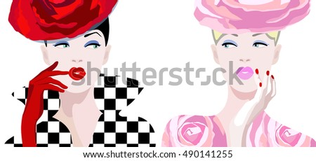 abstract draw two girl model