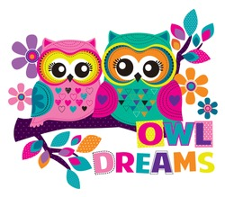 Abstract drawing for t-shirts. Cartoon colorfu cutel owls for girl kids desing. Fashion illustration drawing in modern style for clothes. Girlish print