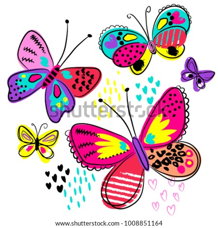 Abstract drawing for t-shirts with colorful butterfly. Creative design for girls. Fashion illustration in modern style for clothes on white background.