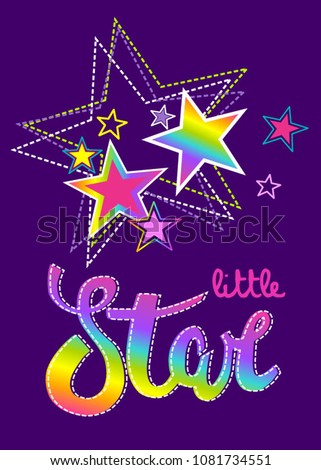 Abstract drawing for t-shirts with colorful stars. Creative design for little star. Fashion illustration in modern style for clothes on violet background.