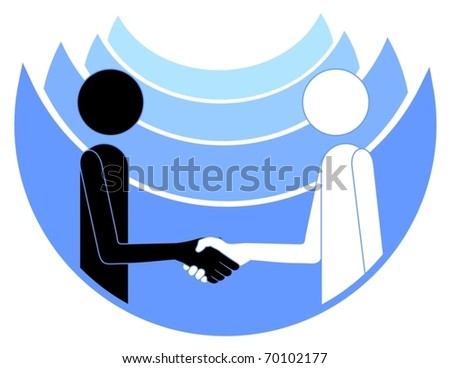 Abstract drawing of two people shaking hands