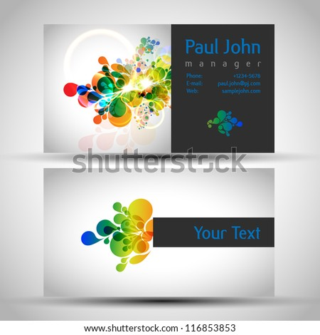 abstract drops business card