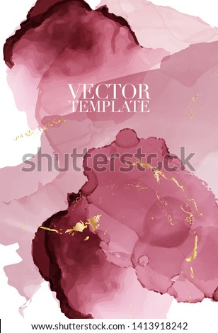 Abstract dusty pink  Fluid creative template, cards, color covers set. Geometric design, liquids, shapes with gold foil glitter. Trendy vector abstract art 2019