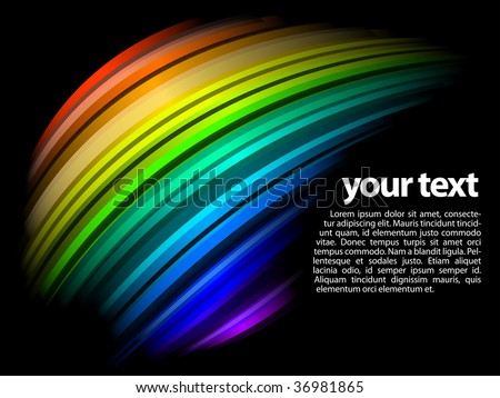 abstract dynamic rainbow design with black background