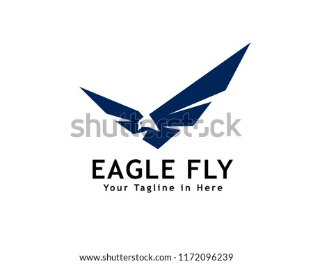 abstract Eagle fly logo, negative space head eagle fly logo