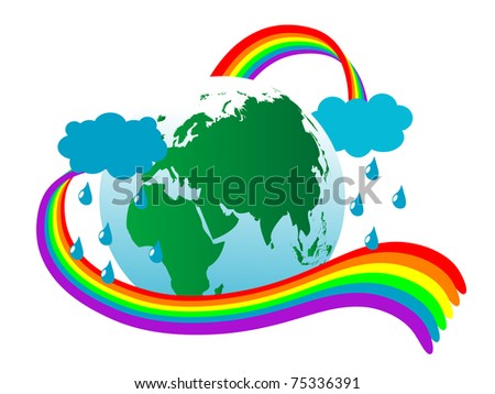 Abstract earth icon with rainbow - stock vector