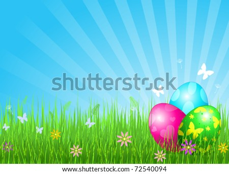Abstract Easter background with Beautiful coloring Easter eggs on the meadow - stock vector